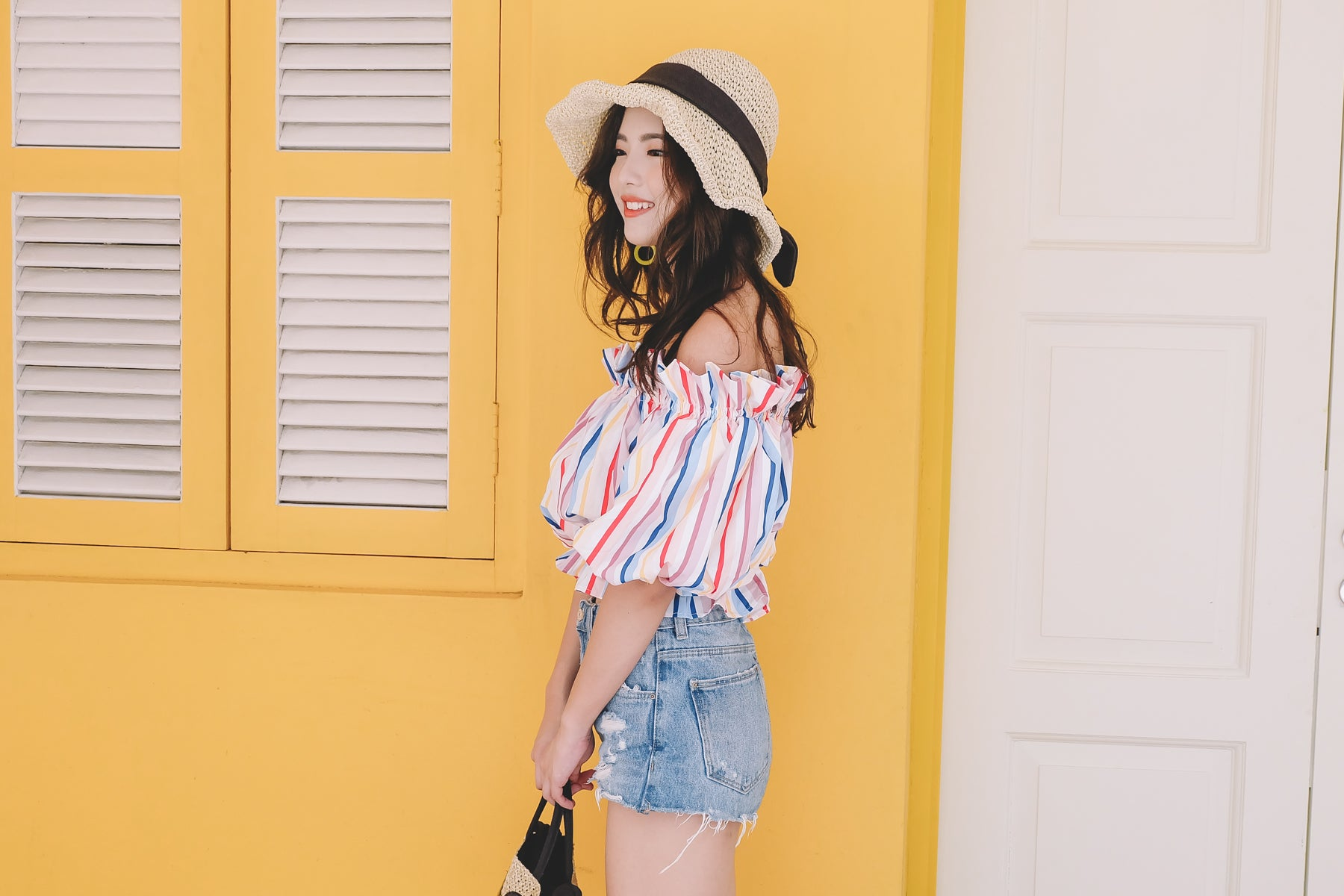 Multicolour Off Shoulder Top