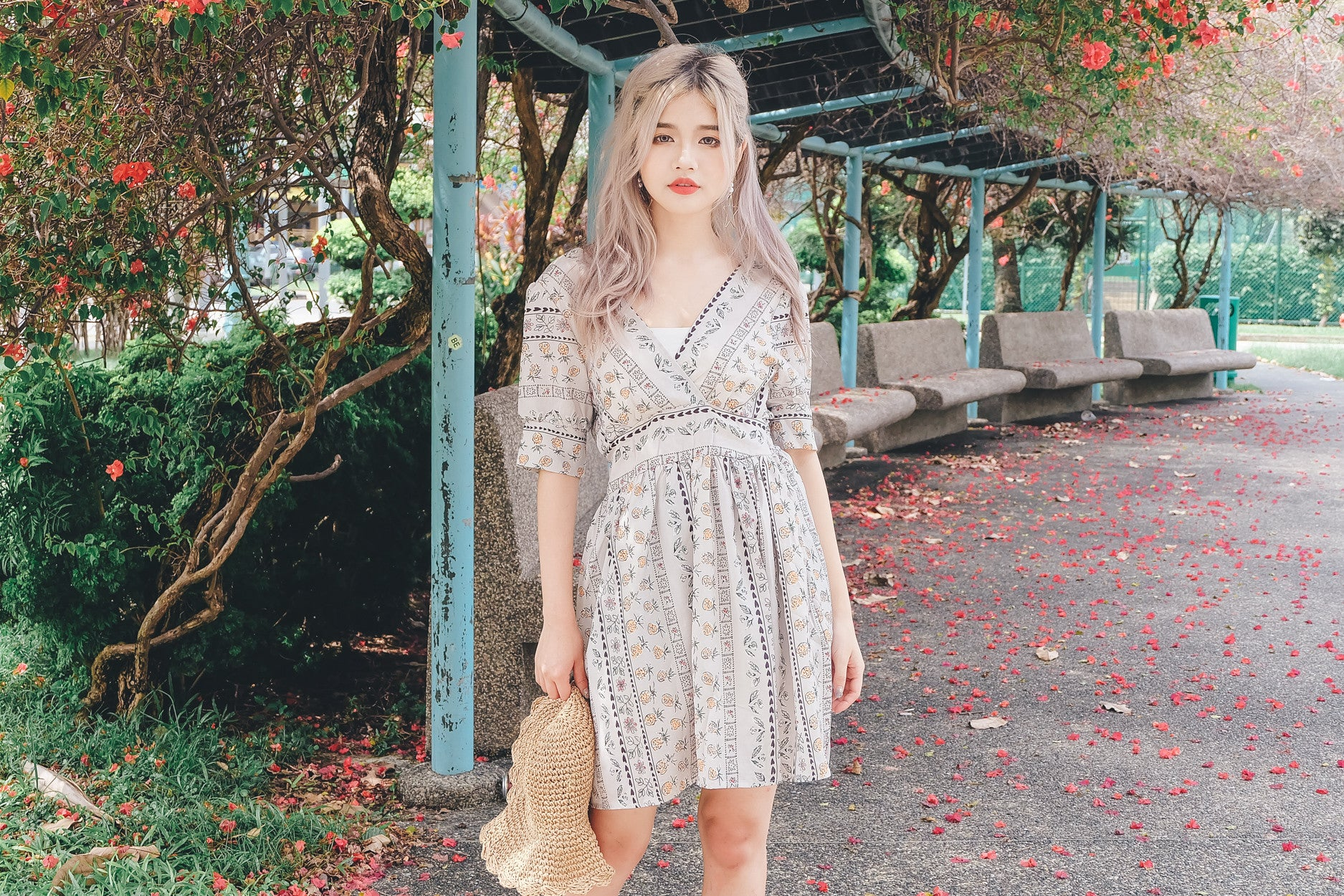 [Restocked] Floral Print Wrap Dress in Taupe