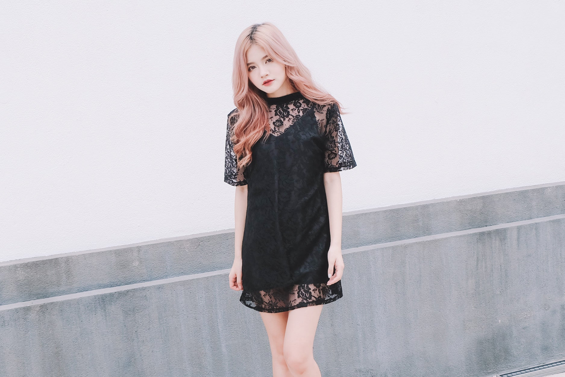 [Restocked] Lace Overlay Shift Dress