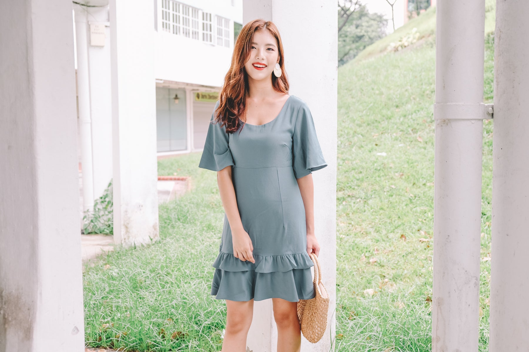 Keva Ruffled Hem Dress in Teal