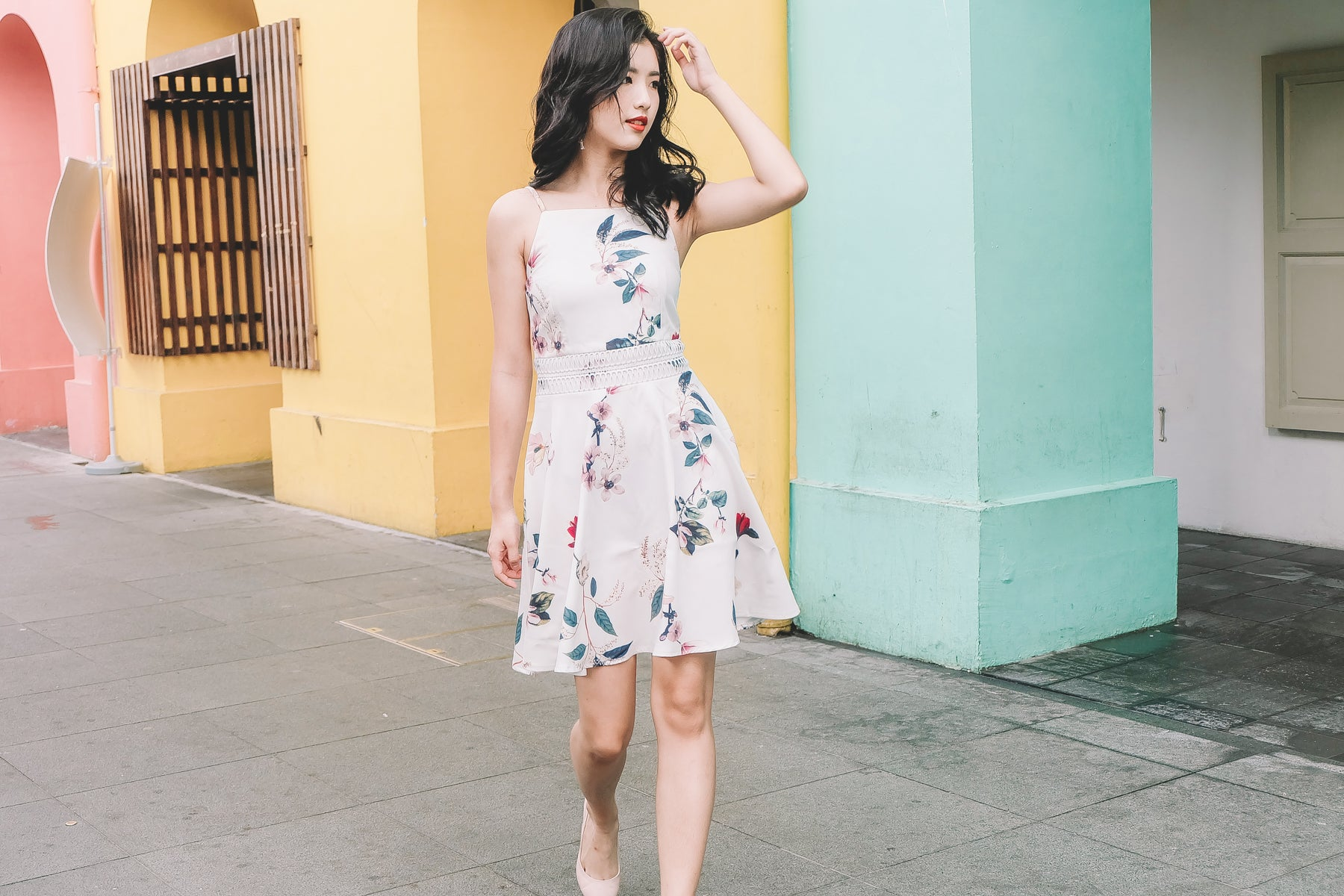 Claude Floral Dress in White