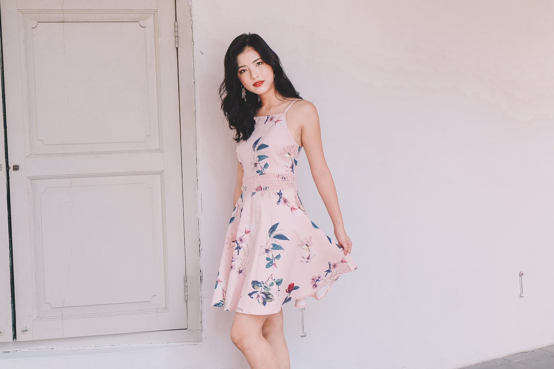 Claude Floral Dress in Pink