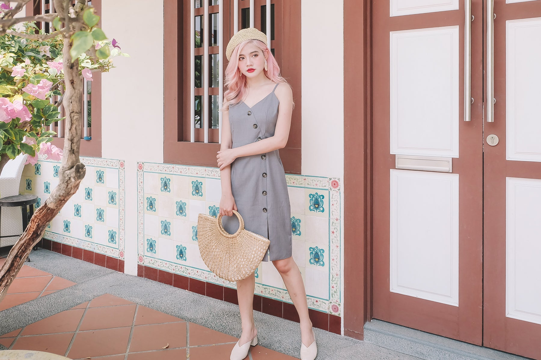 Josie Button Down Midi Dress in Grey