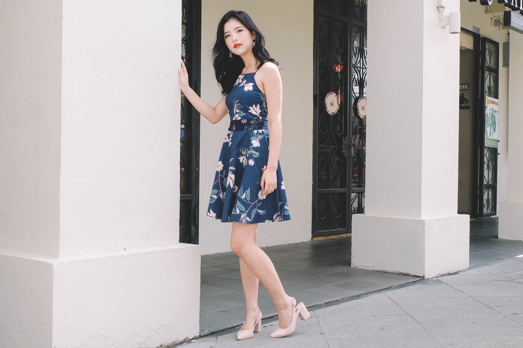 Claude Floral Dress in Navy