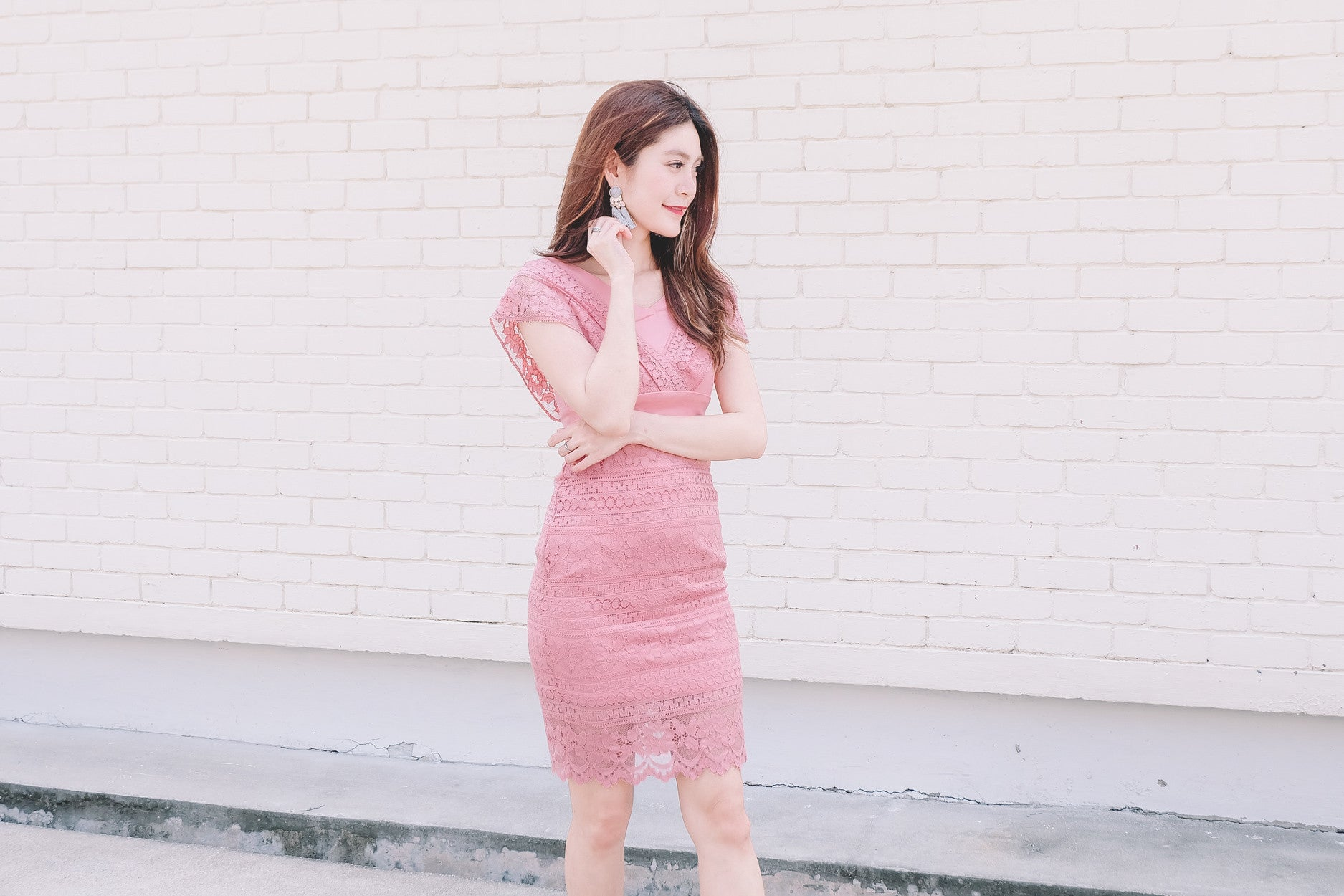 Lace Fitted Dress in Pink