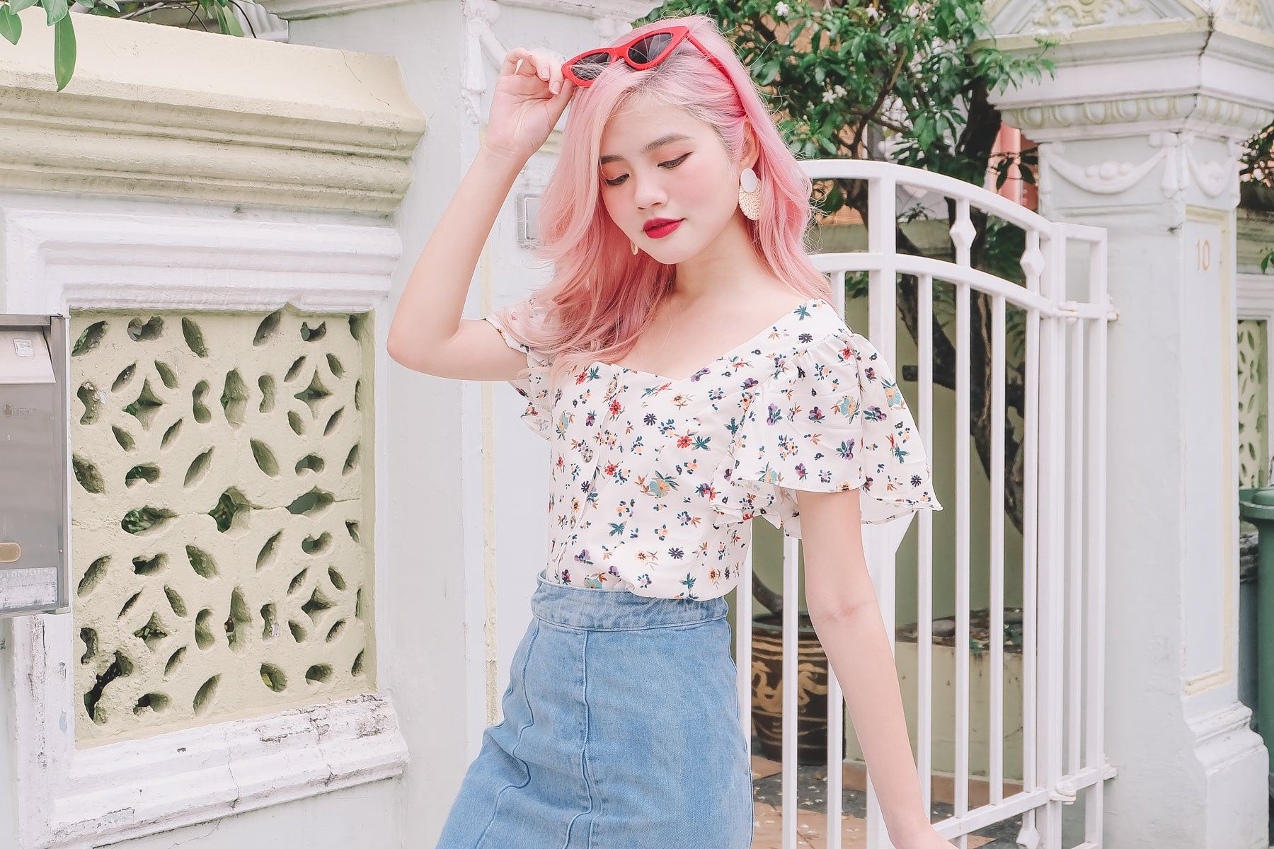 [Restocked] Floral Flutter Sleeve Crop Shirt