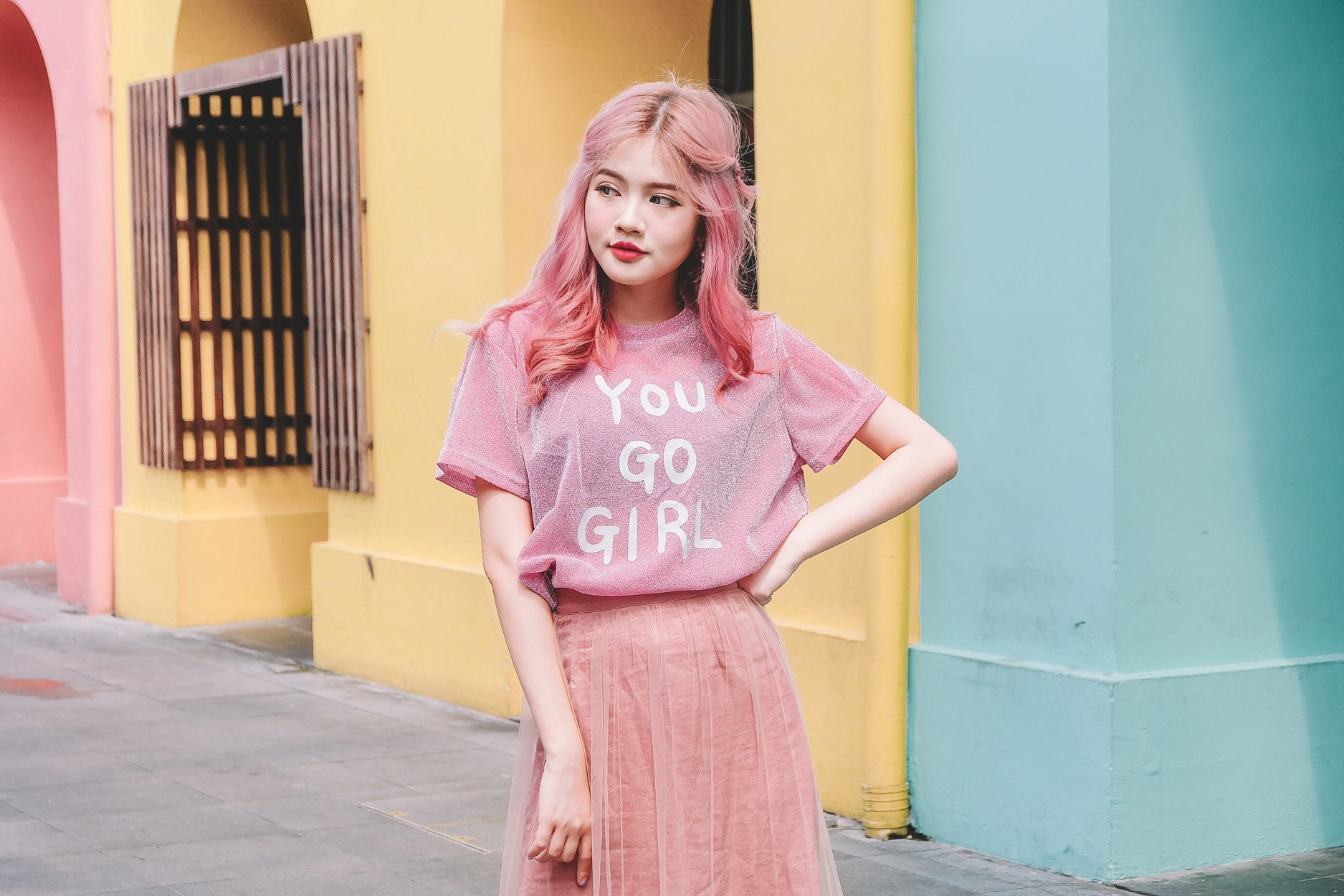 You Go Girl Tee in Pink