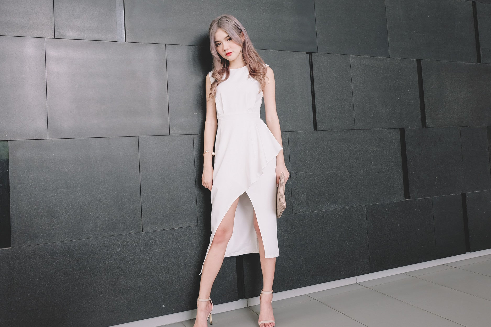 [Restocked] Asymmetrical Maxi Dress in White