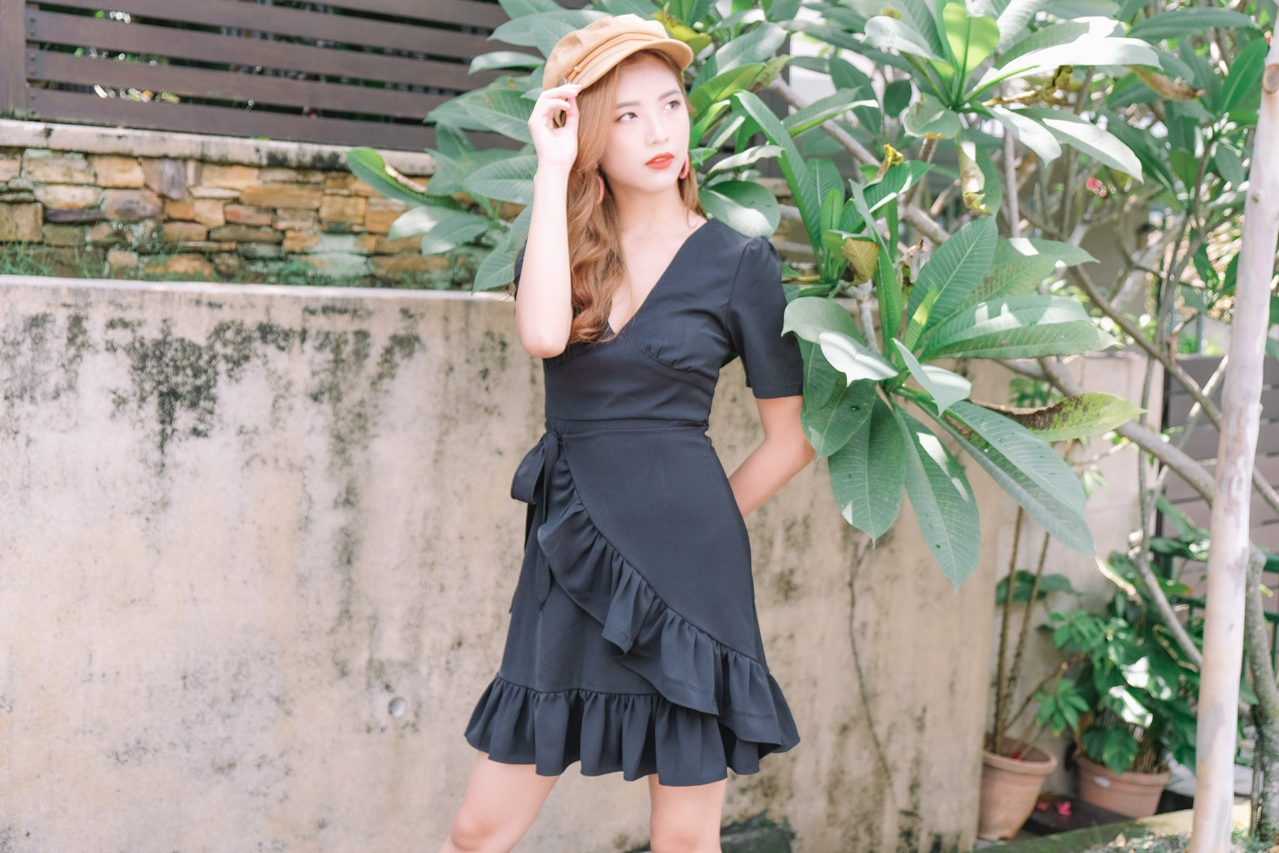 Elina Tie-Waist Ruffle Dress in Black