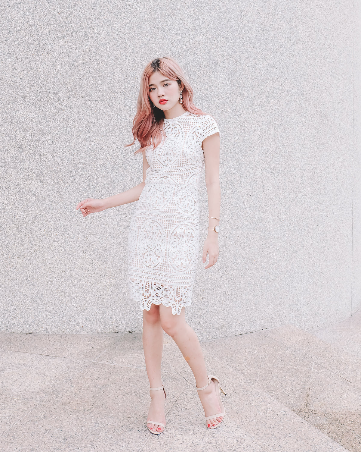 Lace Crochet Fitted Dress in White