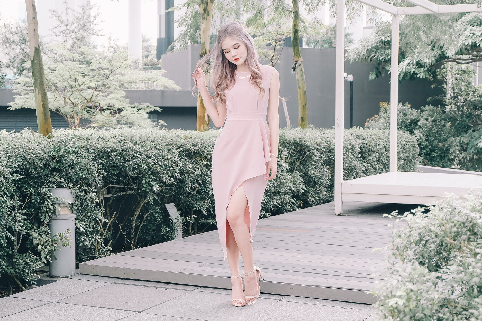 [Restocked] Asymmetrical Maxi Dress in Pink