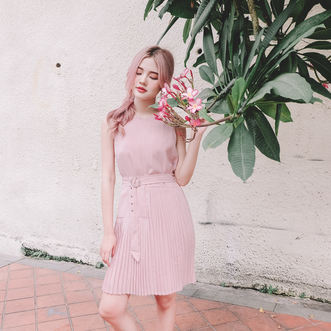 Belted Pleated Dress in Pink