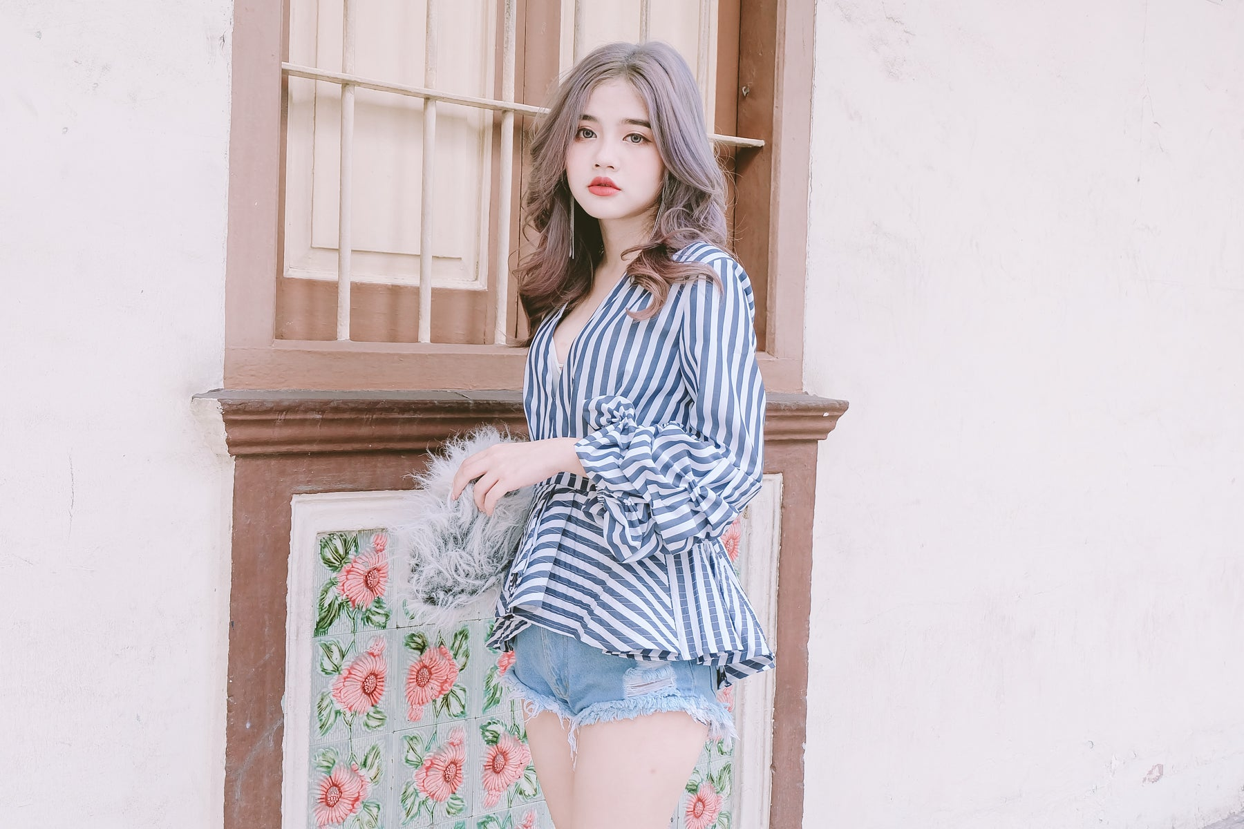 Puff Sleeve V-Neck Blouse in Pinstripe Blue