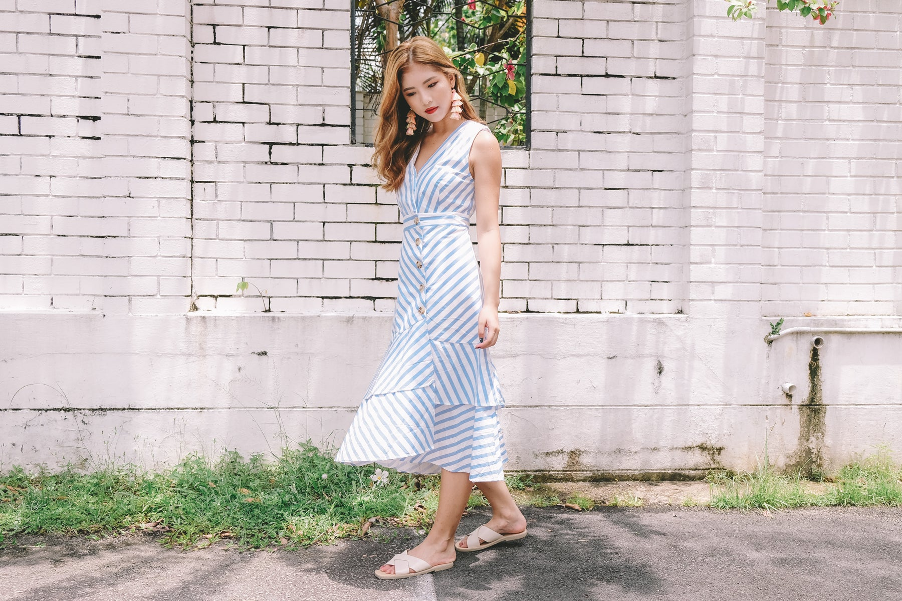 Kika Striped Button Through Midi Dress in Blue