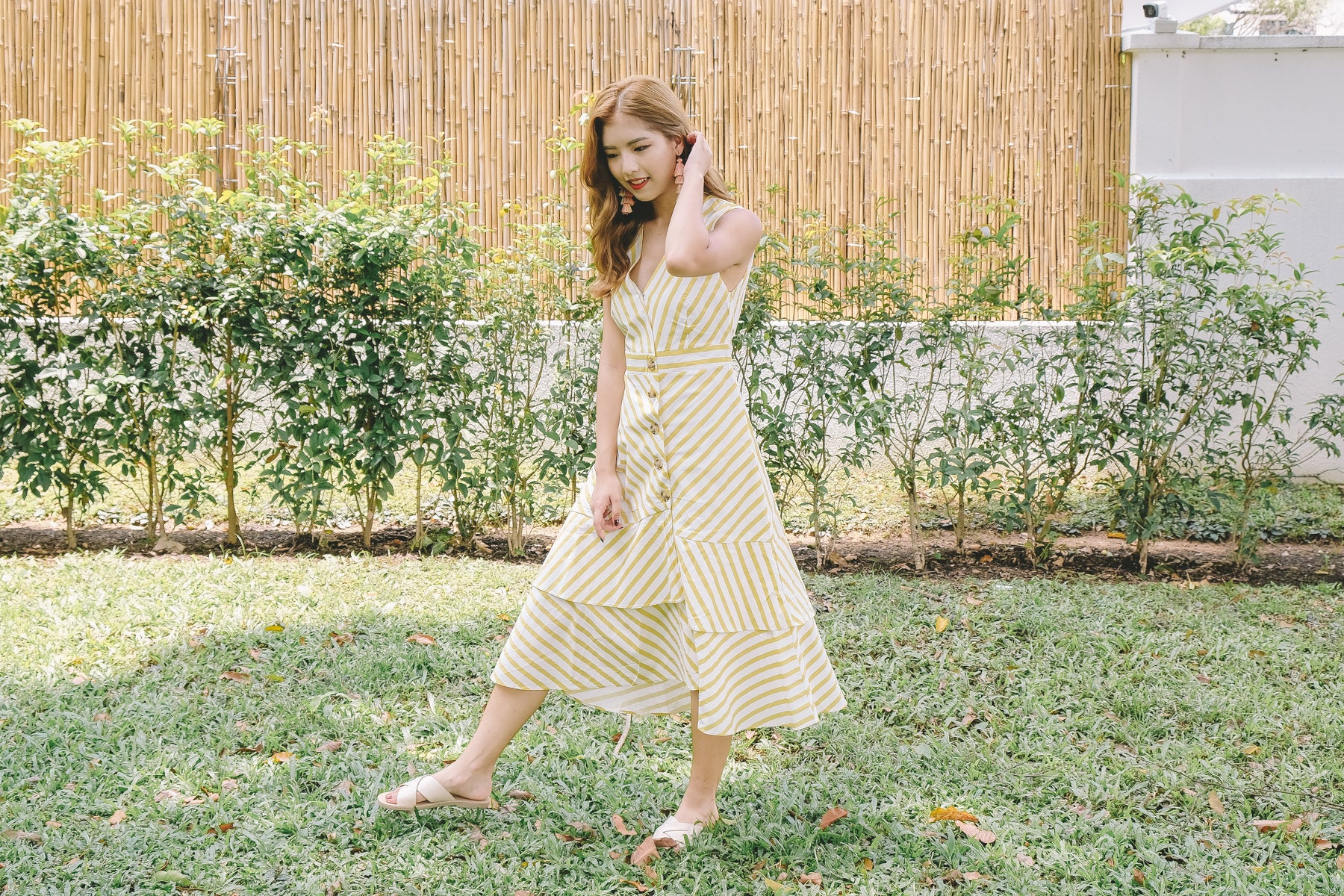 Kika Striped Button Through Midi Dress in Yellow