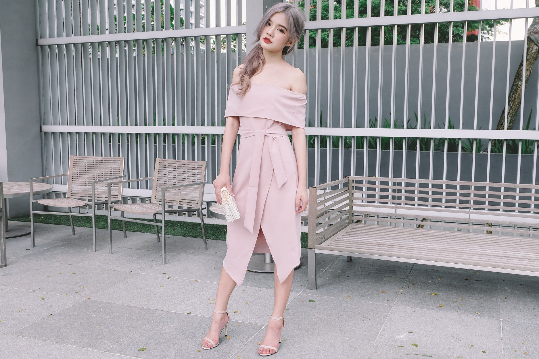 [Restocked] Off Shoulder Midi Dress with Sash in Pink