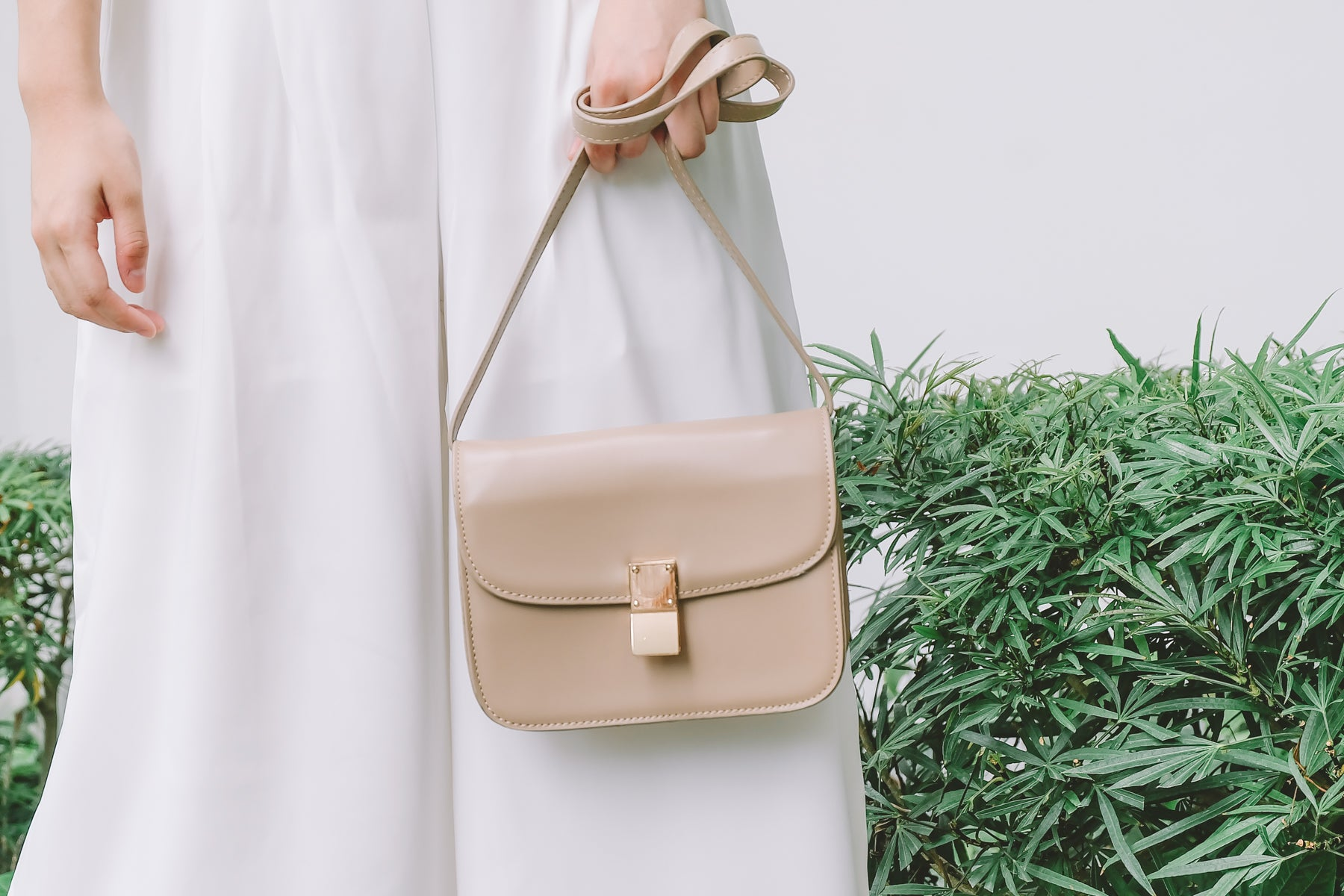Gold Buckle Crossbody Bag in Taupe