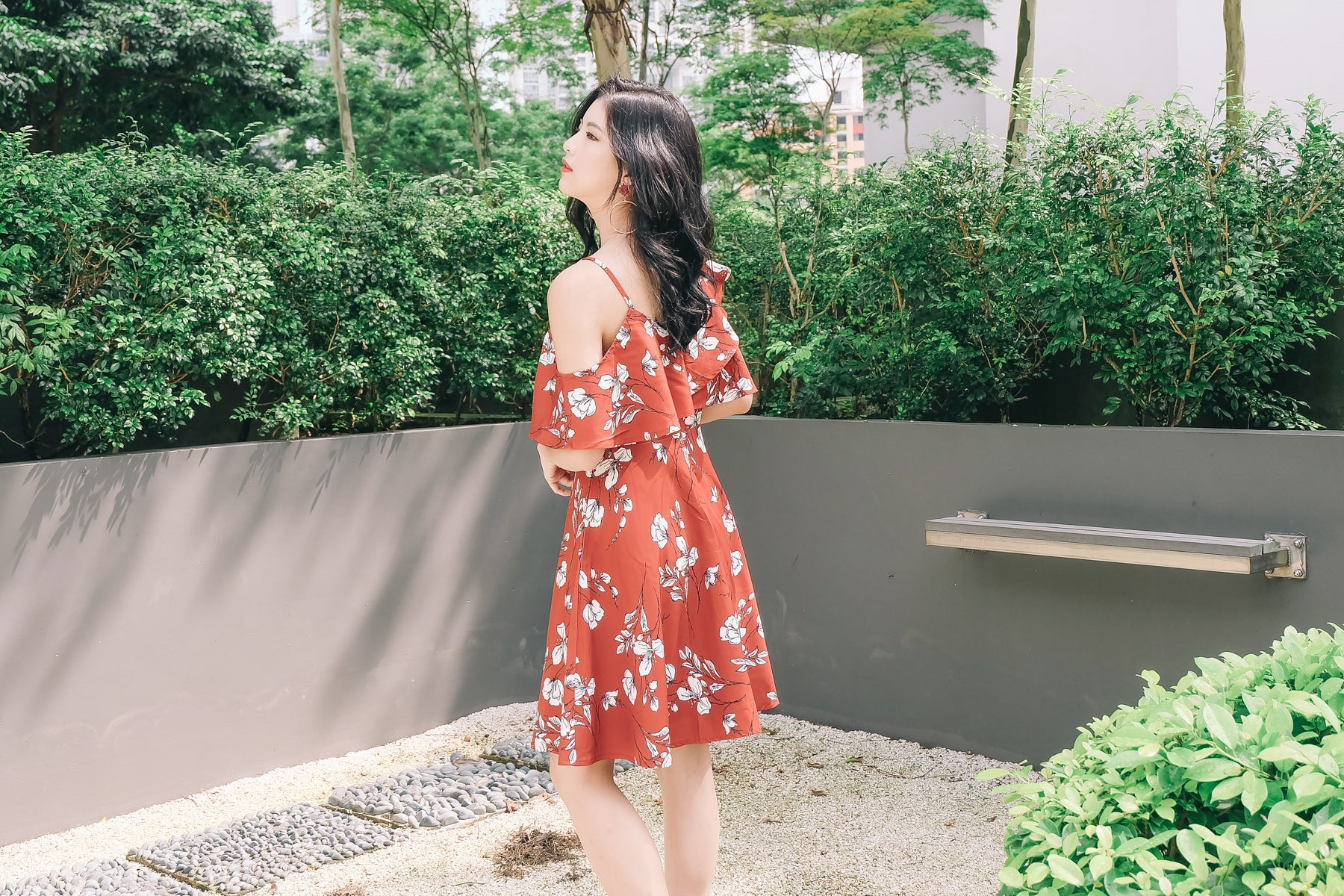 Candice Floral Ruffled Dress in Clay