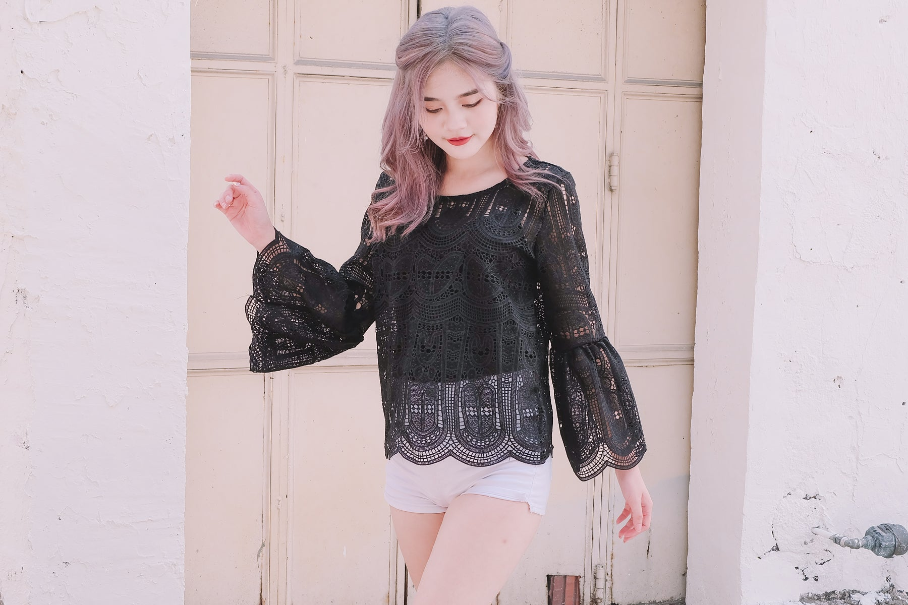 Crochet Bell Sleeve Top in Black