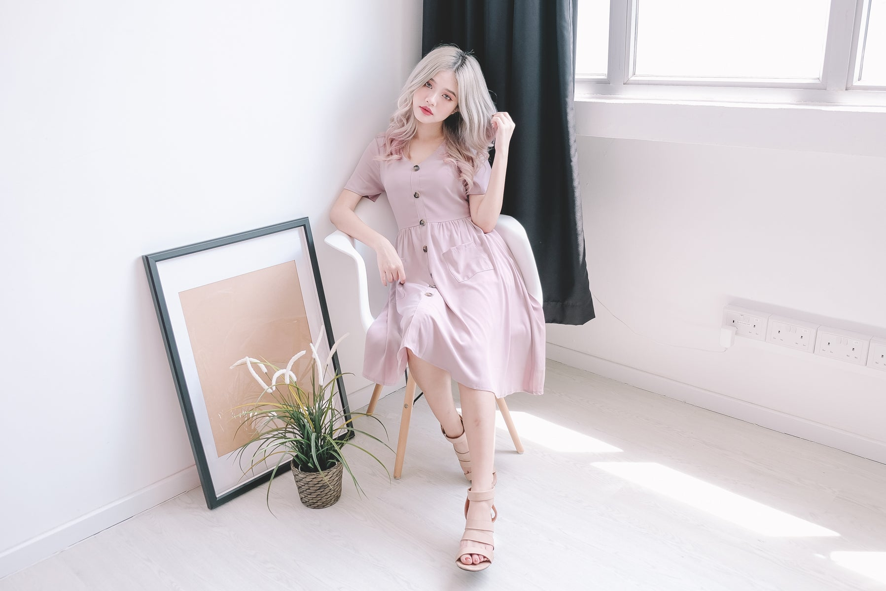 [Restocked] Weslie Button Front Midi Dress in Pink