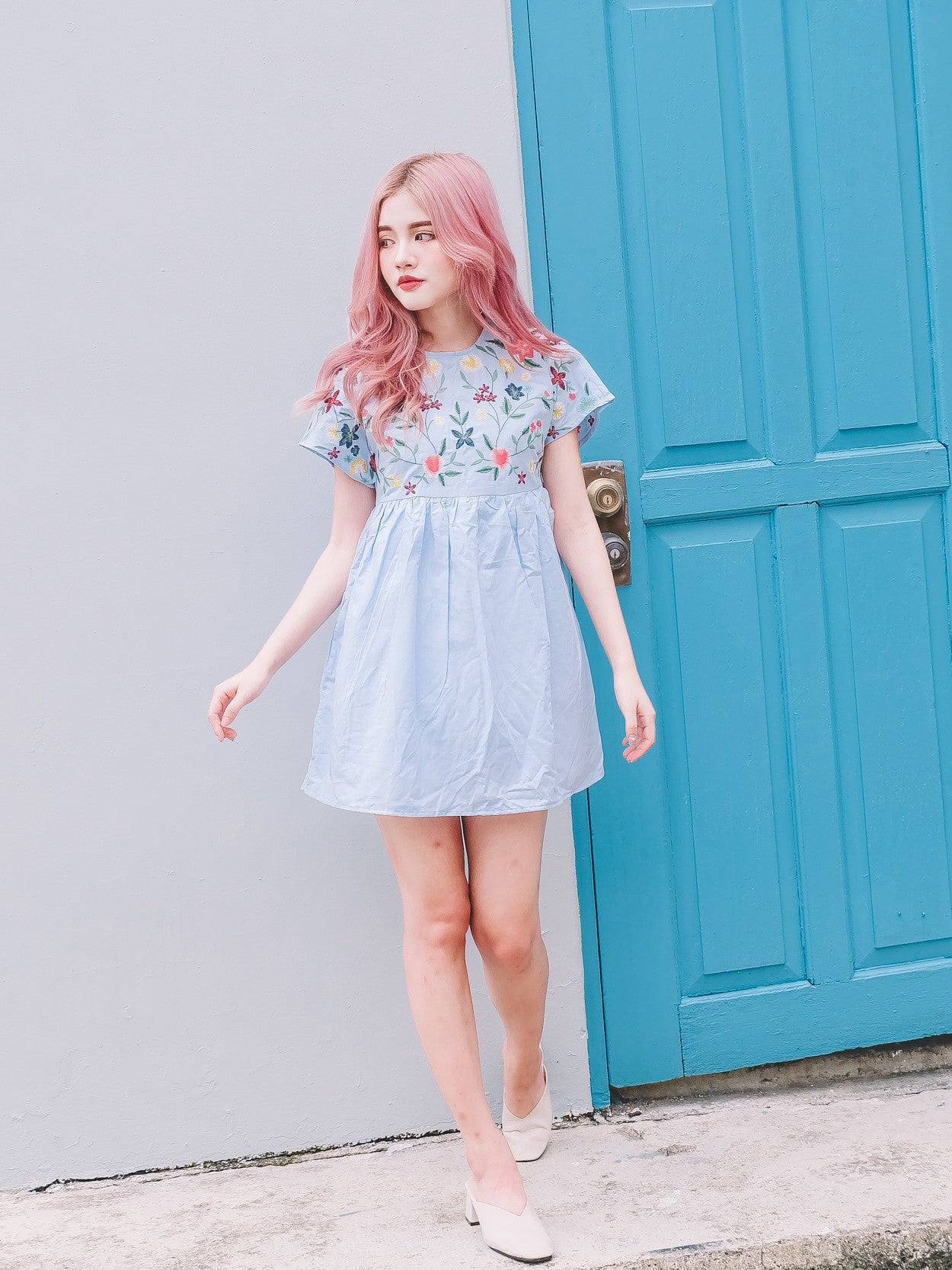 [Backorder] Embroidered Floral Skort Romper