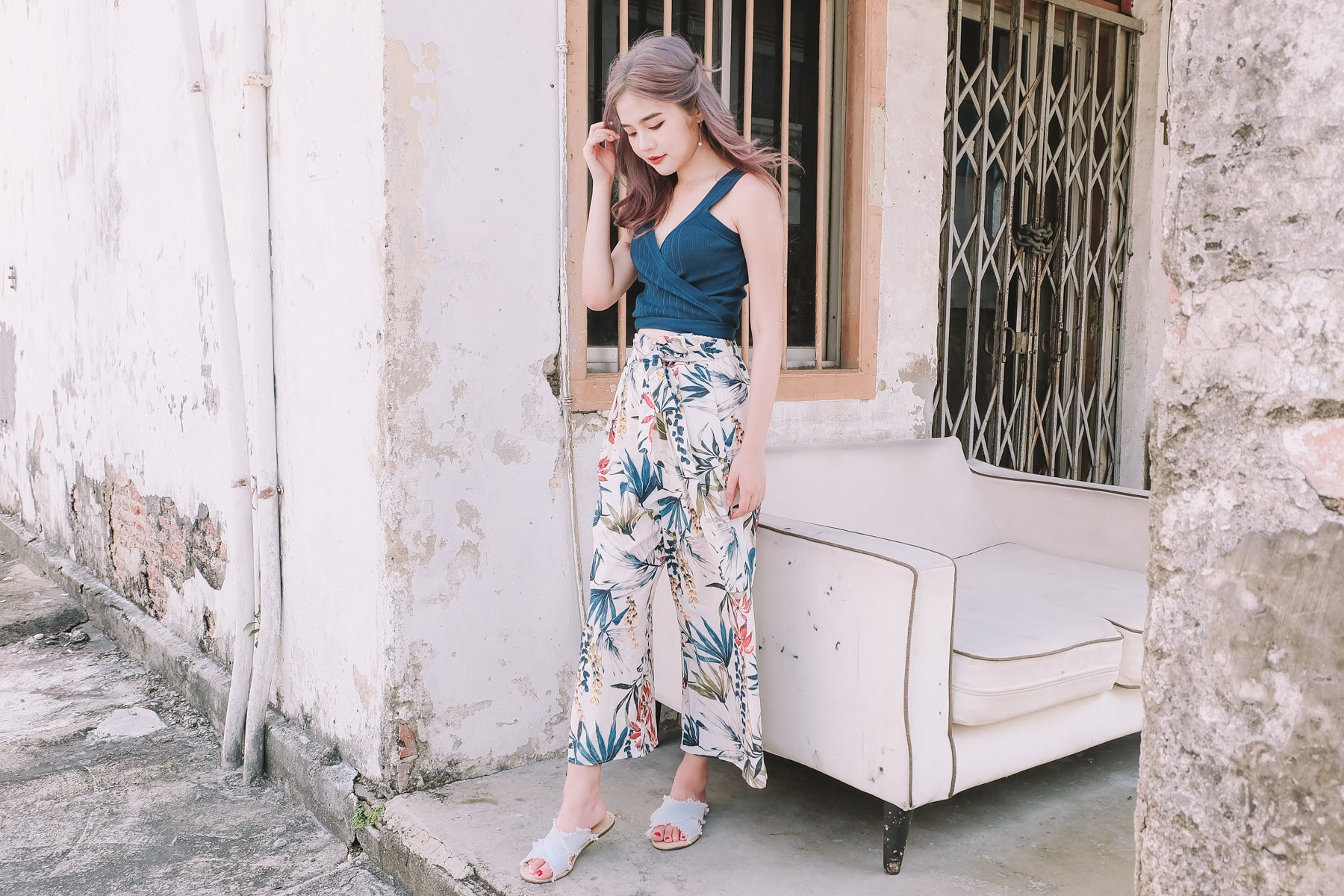 [Restocked] Tropical Print Loose Pants in White