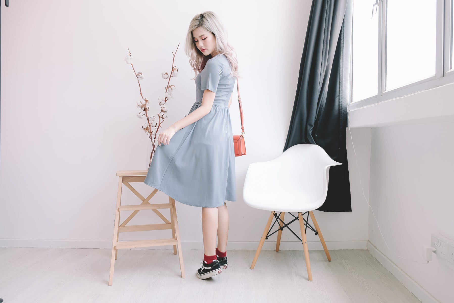 [Restocked] Weslie Button Front Midi Dress in Slate Blue
