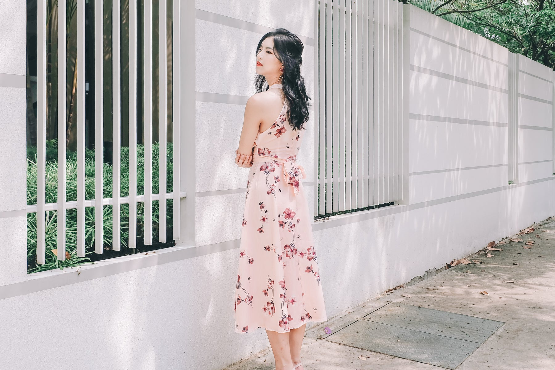[Restocked] Floral Tie-Waist Keyhole Maxi Dress in Pink