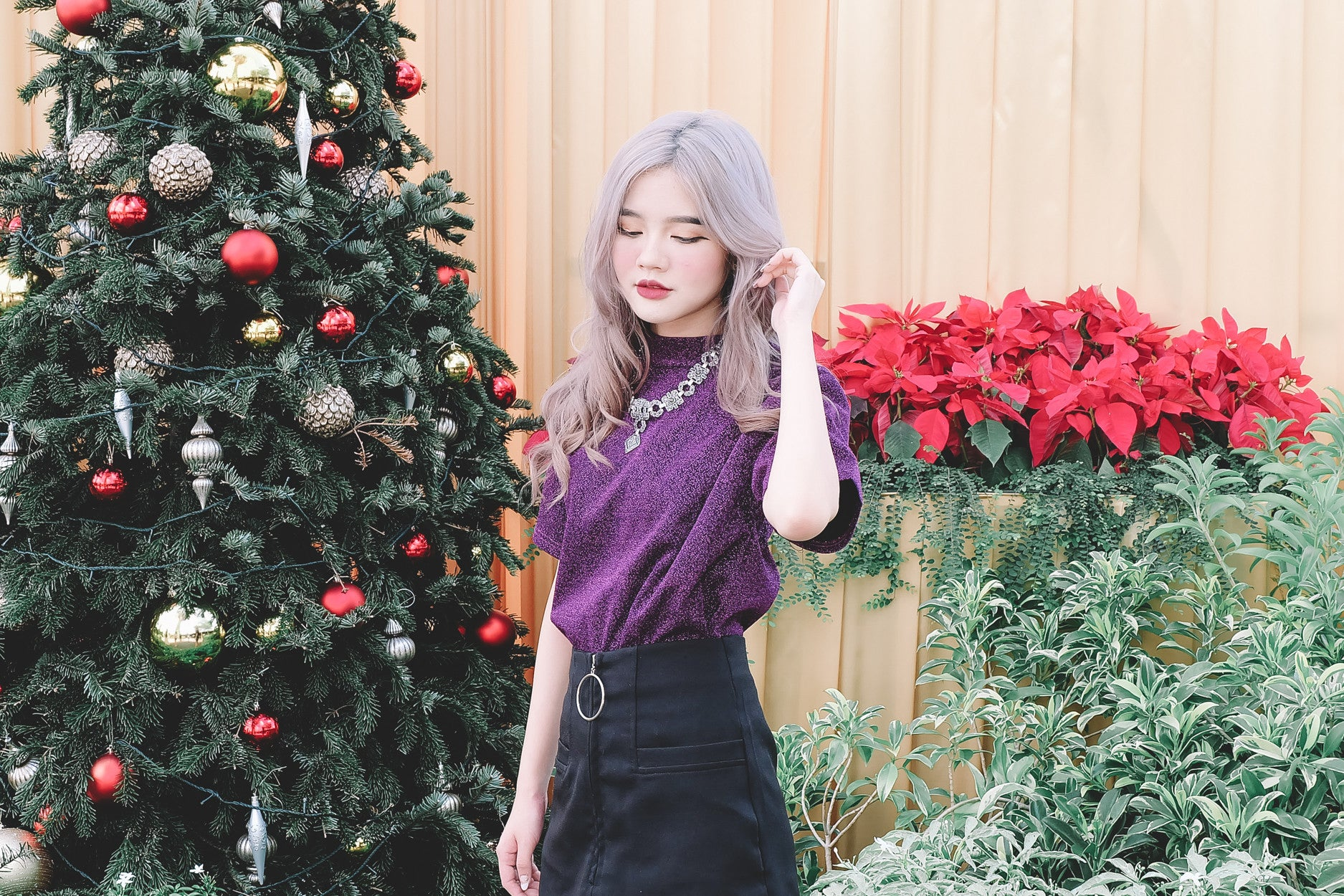 Mock Neck Shimmer Top in Purple