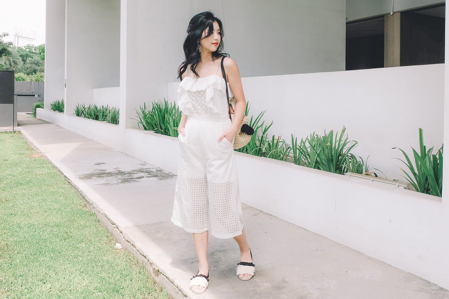 Eyelet Culottes in White