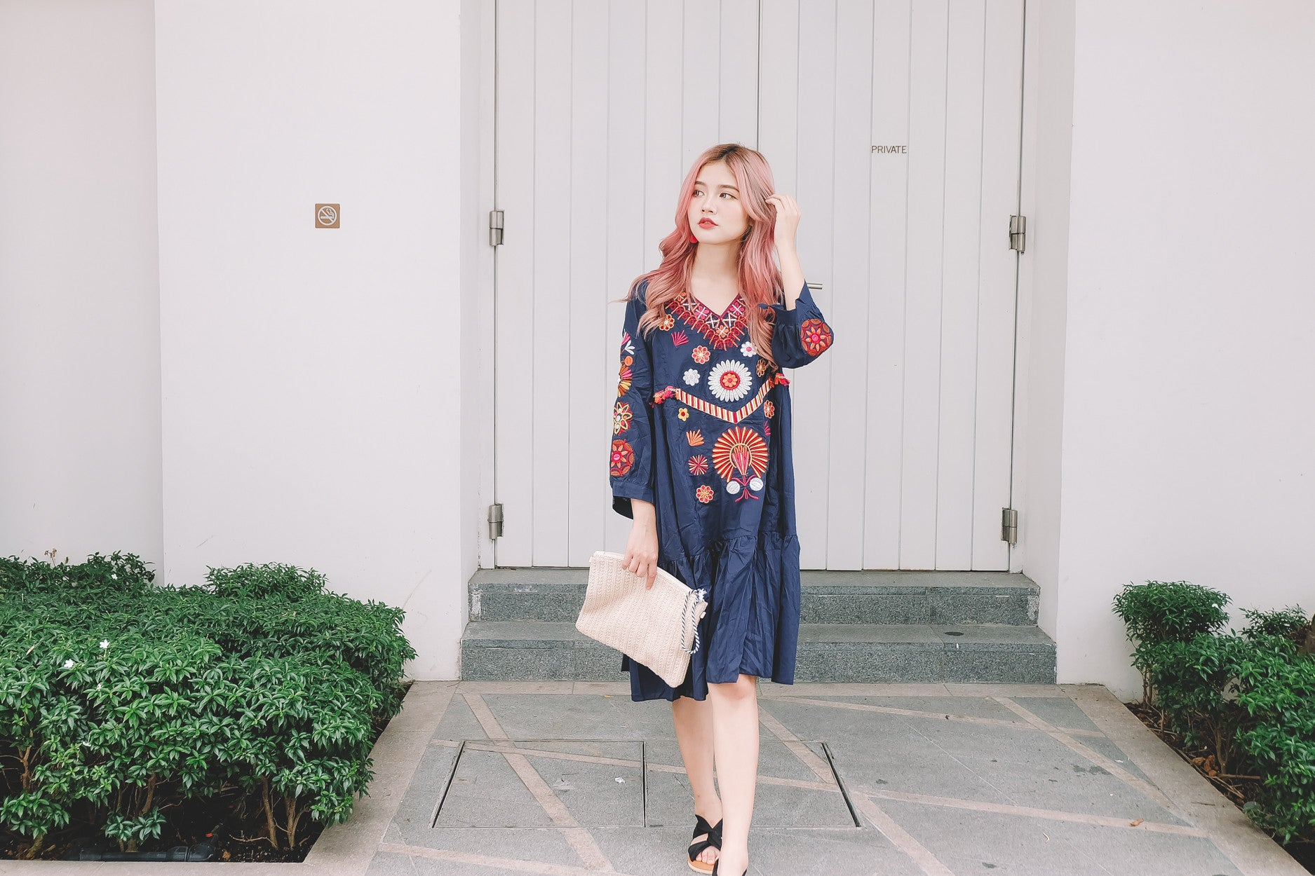 Embroidered Loose Dress in Navy