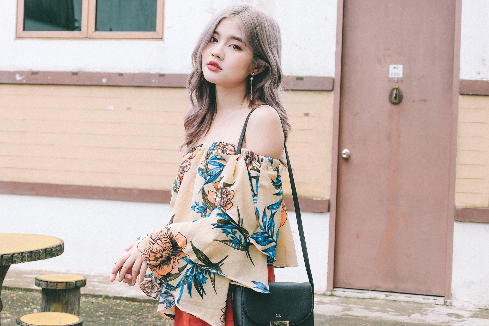 Floral Layered Sleeve Offsie Top in Cream