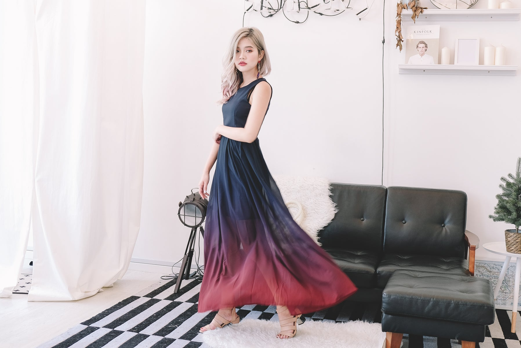 Eeli Ombre Maxi Dress in Navy/Red