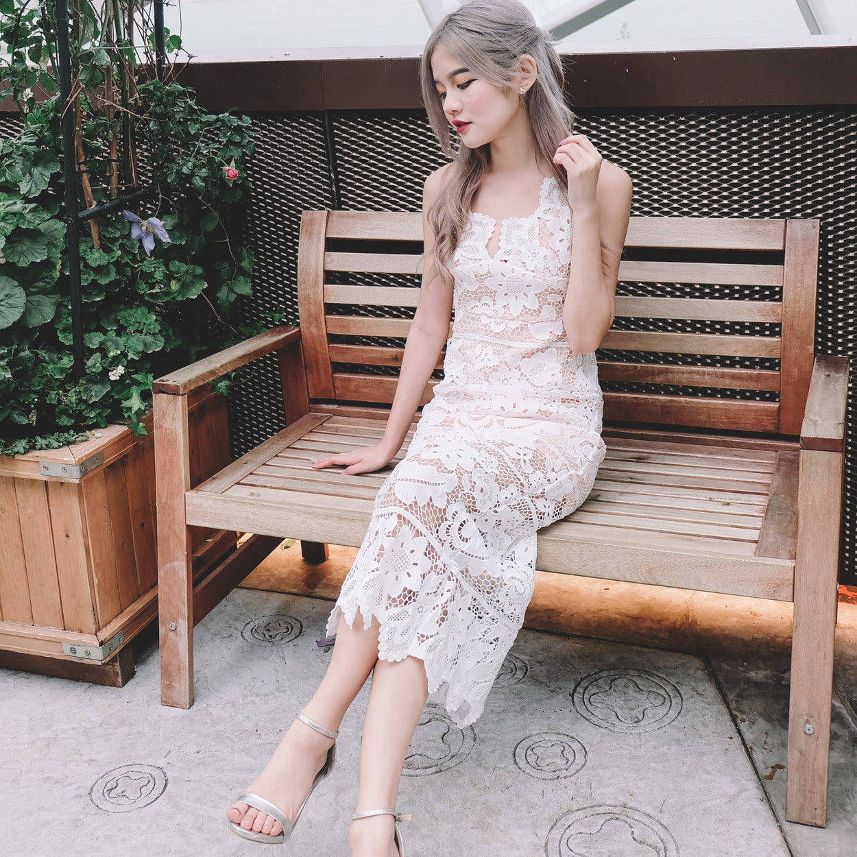 *Premium* Lace Maxi Dress in White