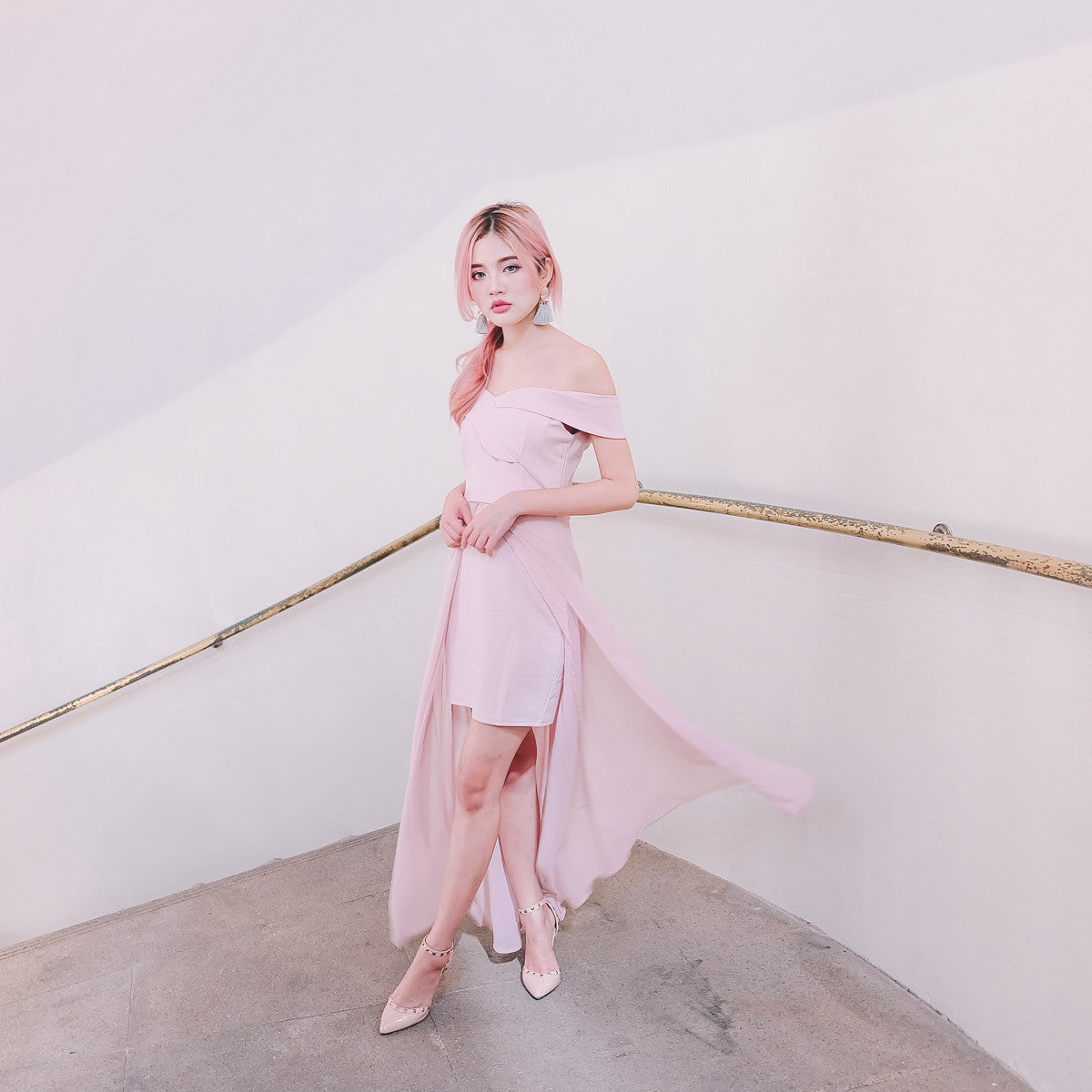 [Restocked] Sweetheart Hi-Lo Maxi Dress in Pink