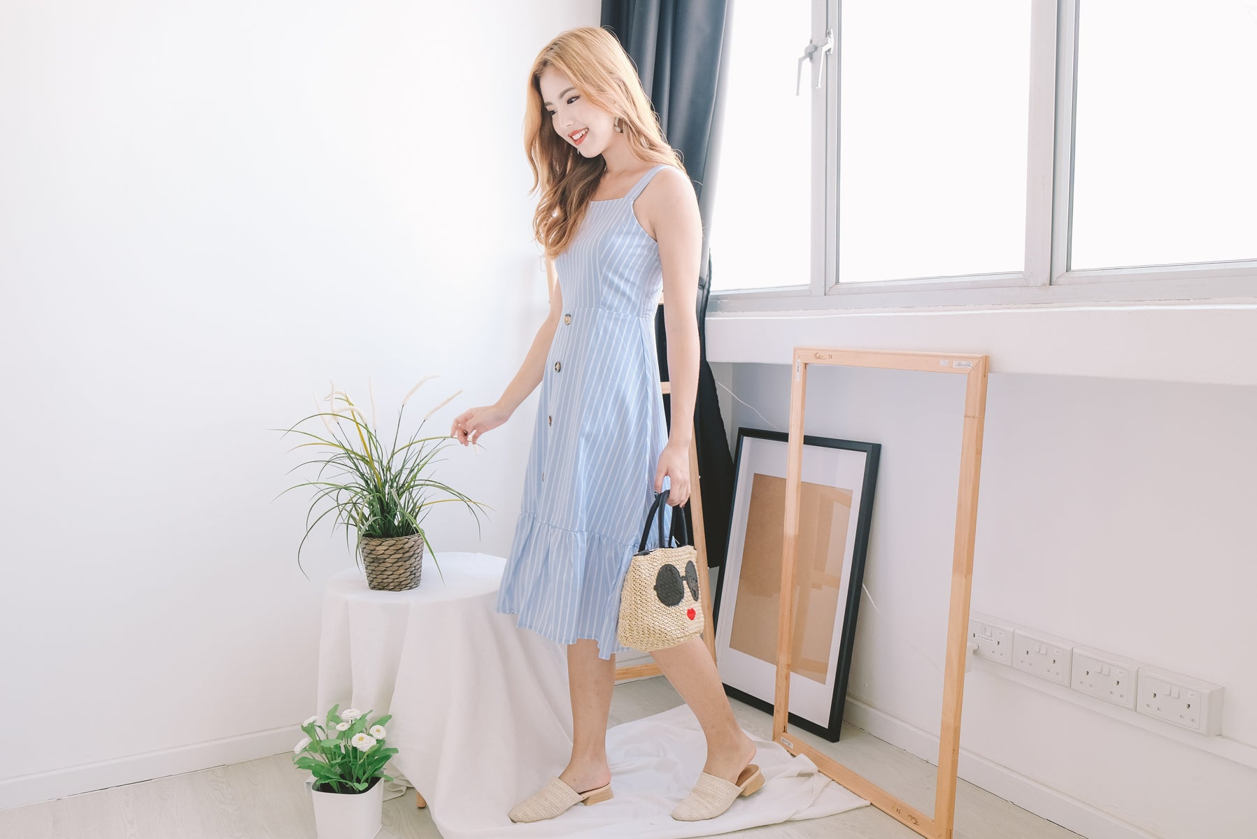 [Restocked] Lynde Pinstripe Button Midi Dress in Blue
