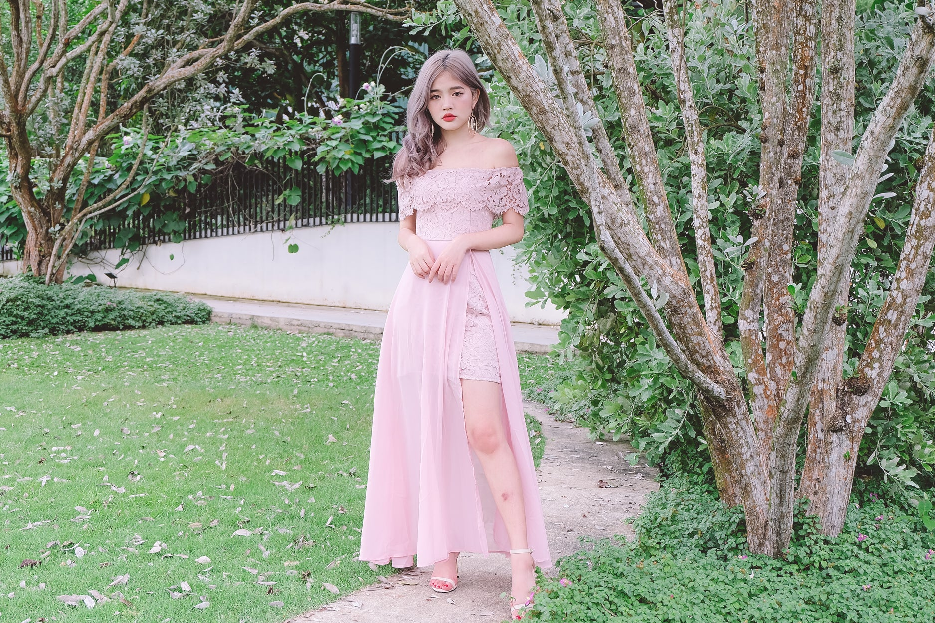 [Restocked] Lace Off Shoulder Maxi Dress in Pink