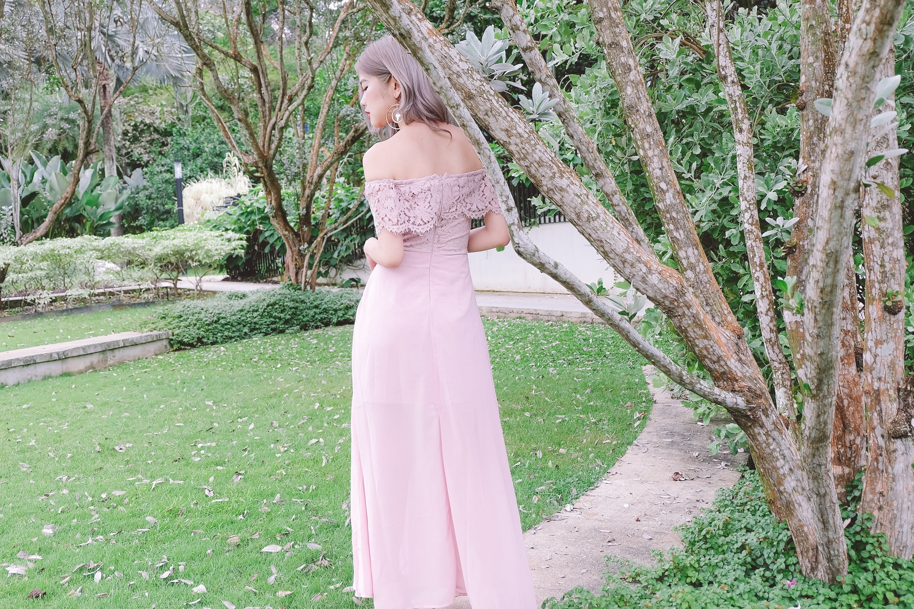 Lace Off Shoulder Maxi Dress in Pink