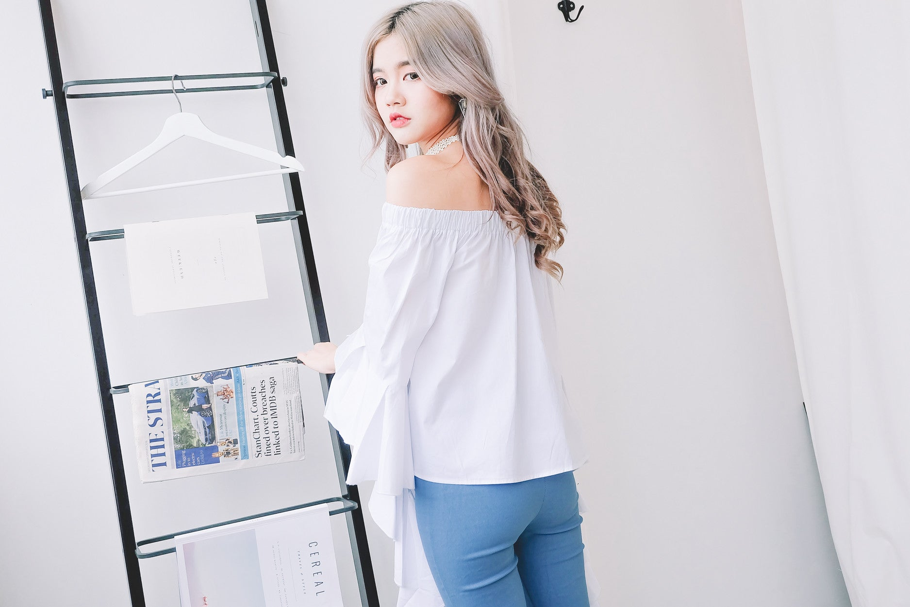 Ruffle Sleeve Off The Shoulder Top in White