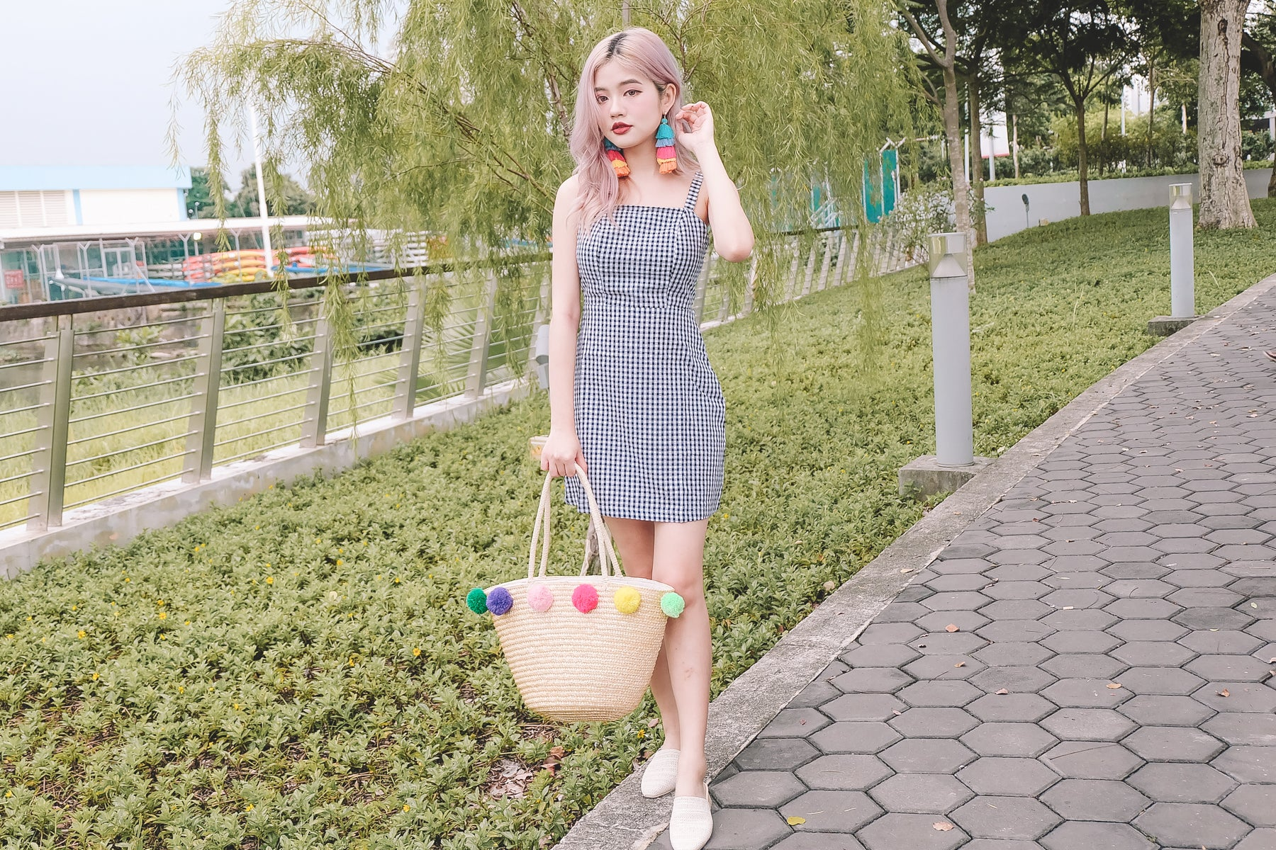 [Restocked] Gingham Tie-Back Dress in Black