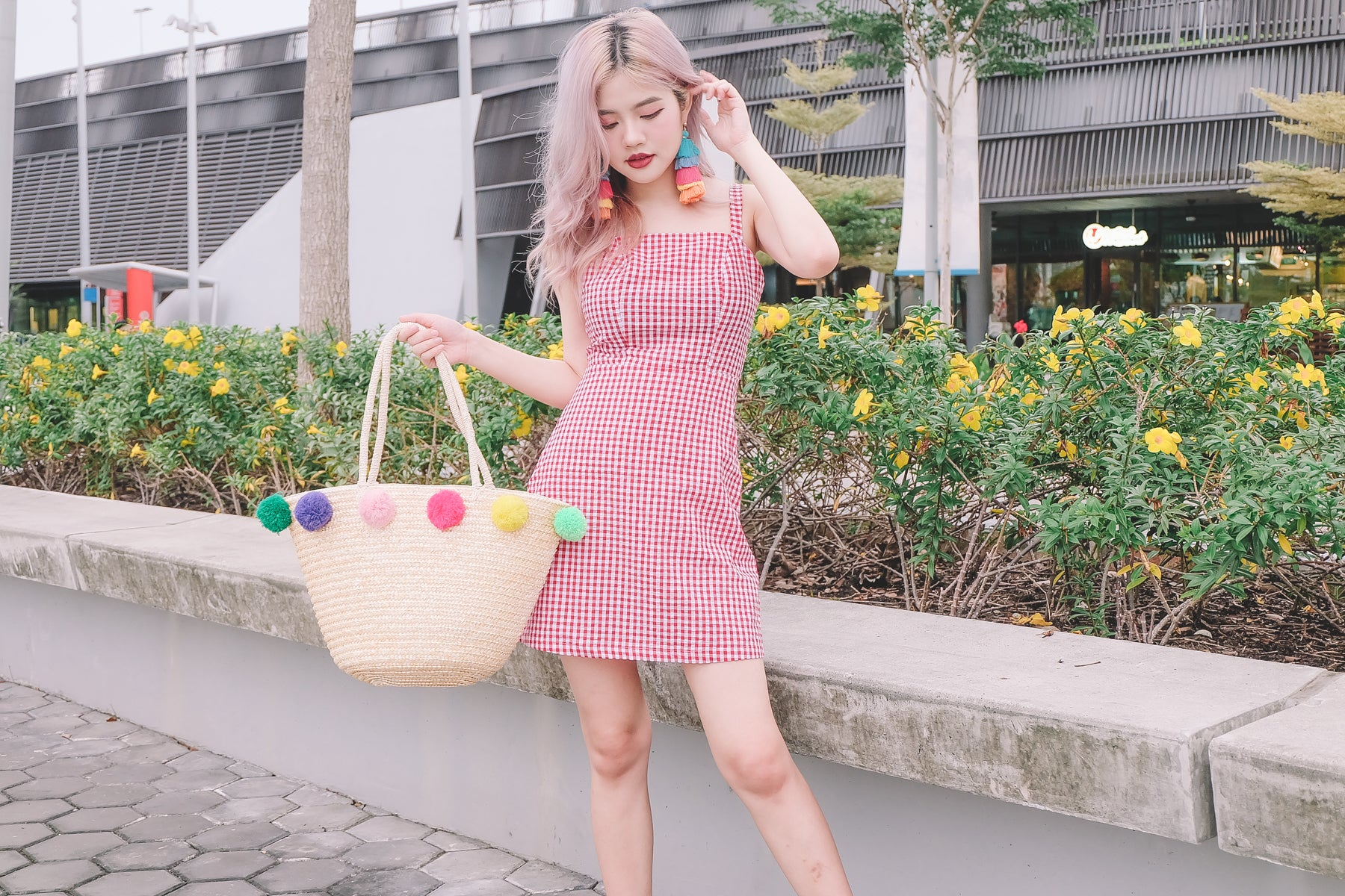 [Restocked] Gingham Tie-Back Dress in Red