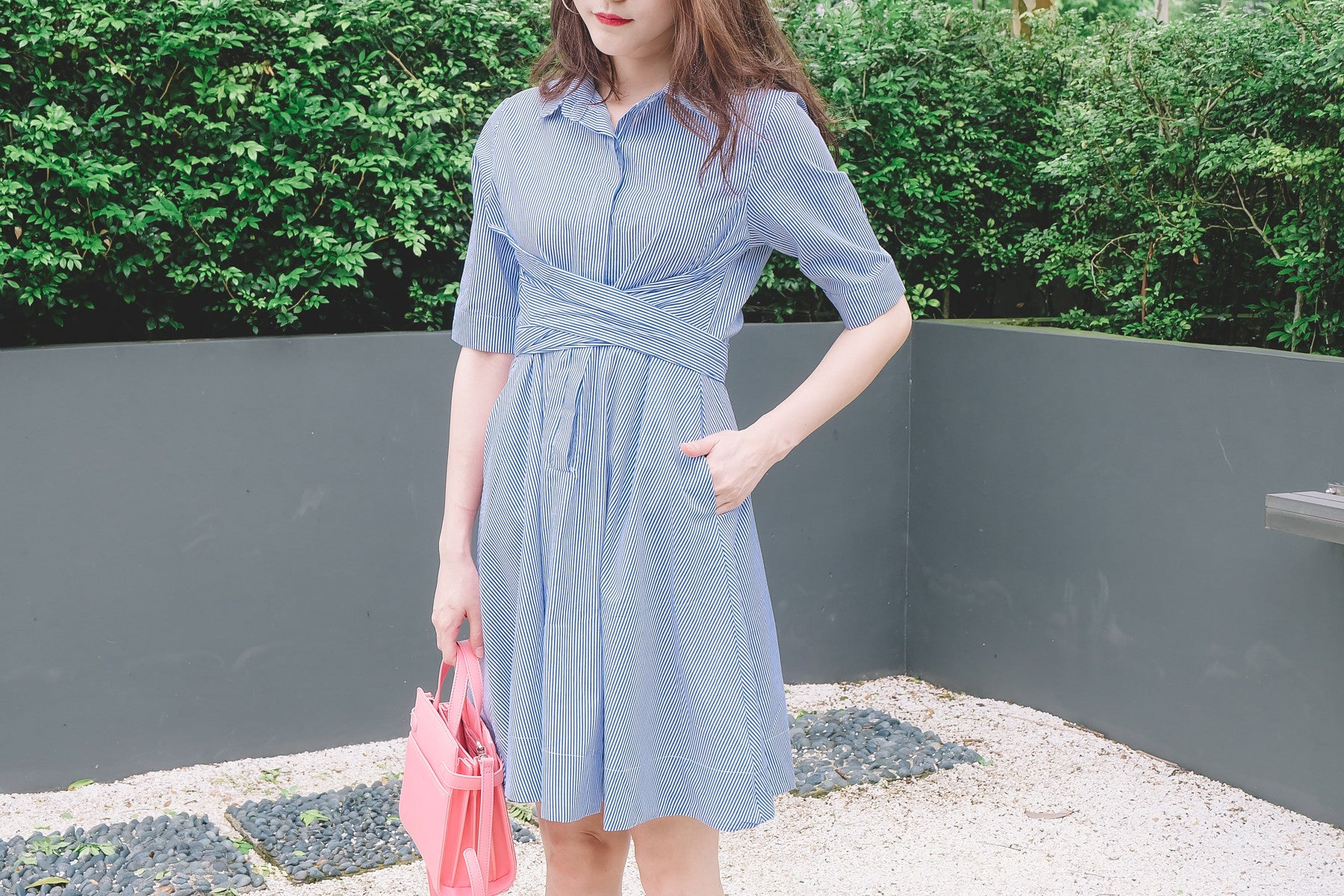 Cross Waist Shirt Dress