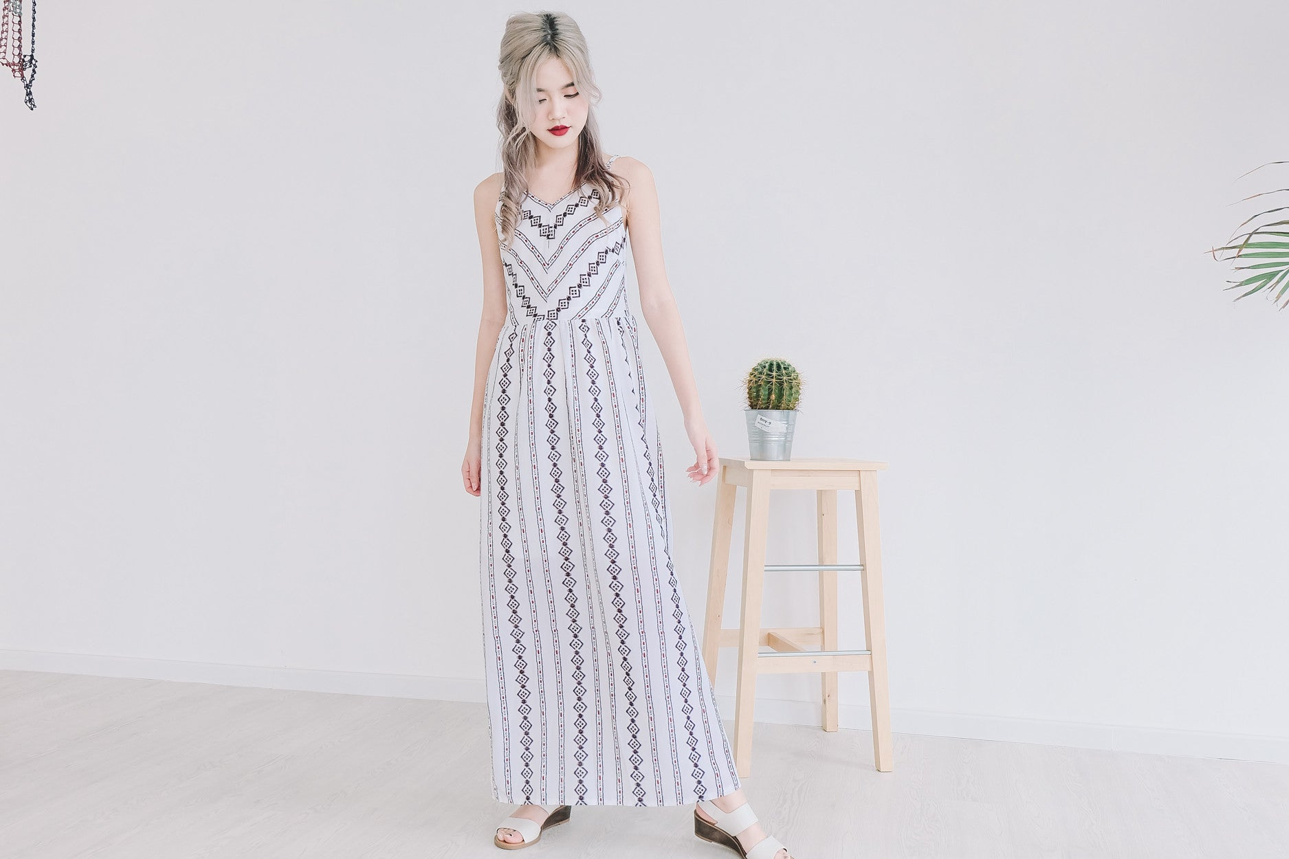 Aztec Print Maxi Dress in White