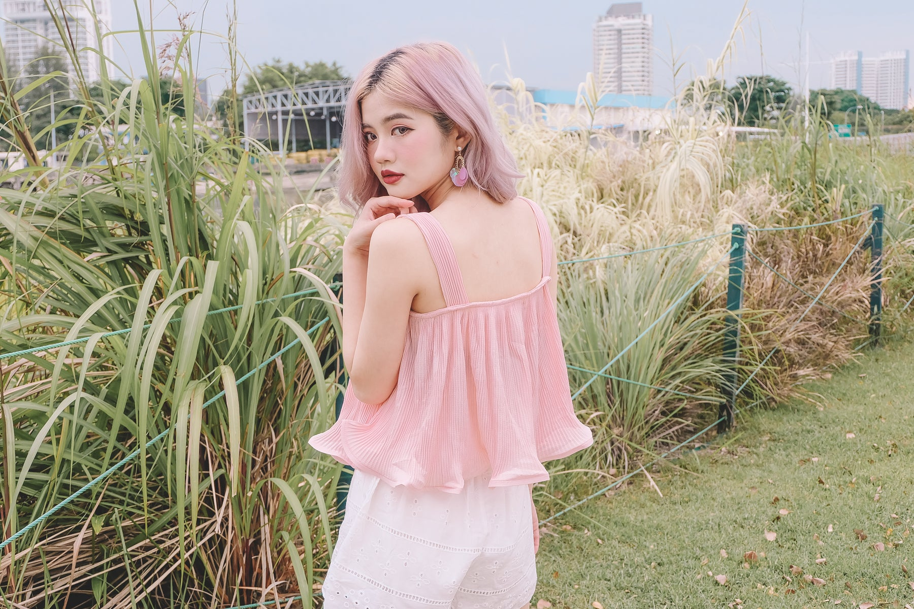 Ayeda Pleated Top in Pink