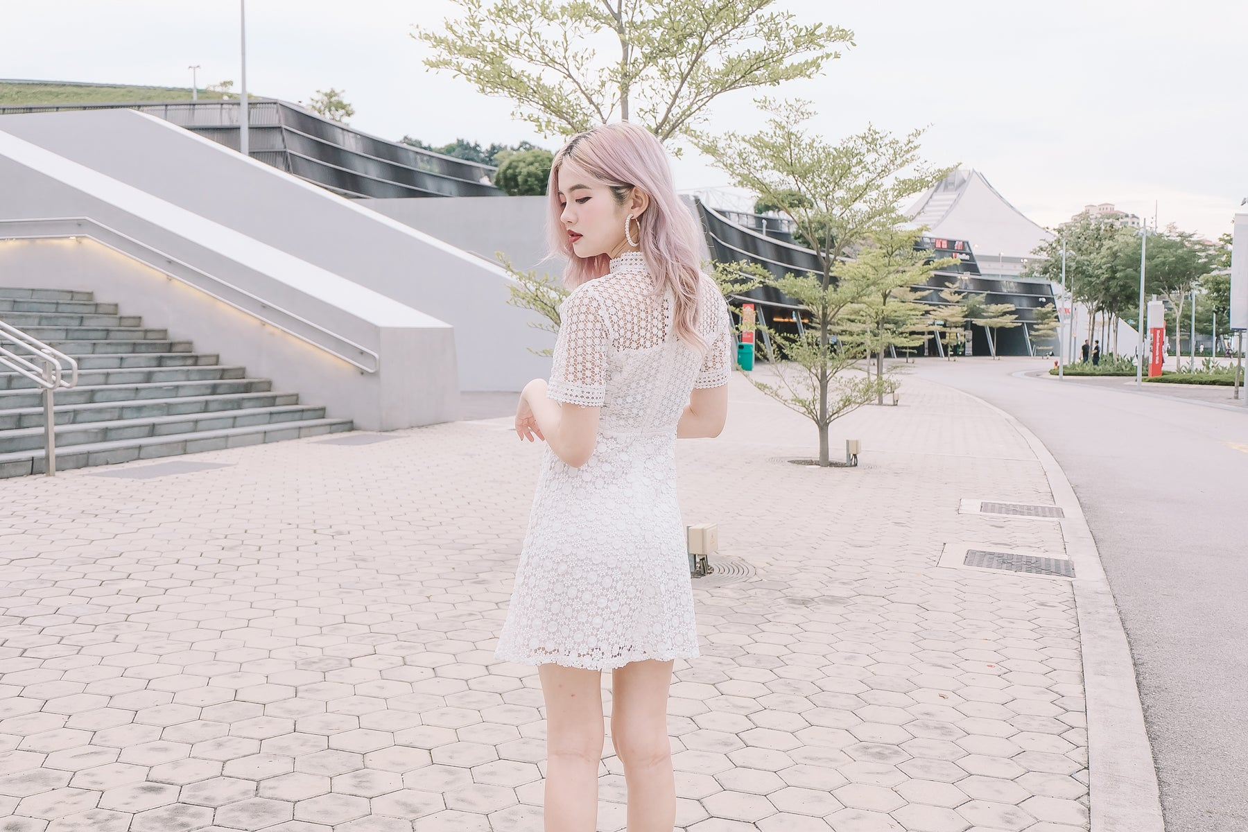 Maddison Crochet Lace Dress in White