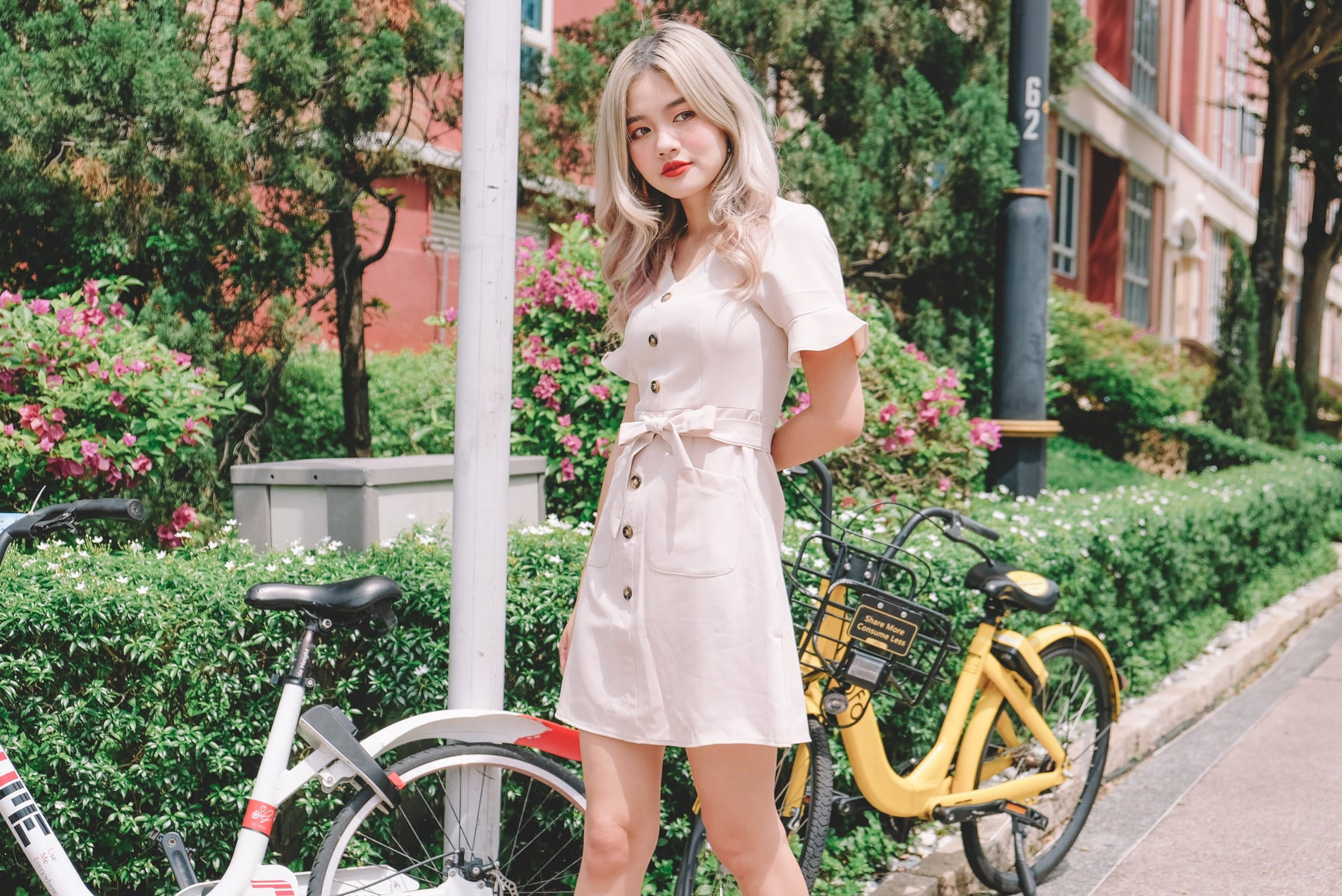 [Restocked] Olayne Button Front Dress in Ivory