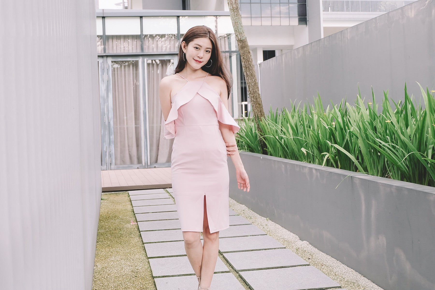 Ruffle Cold Shoulder Dress in Pink