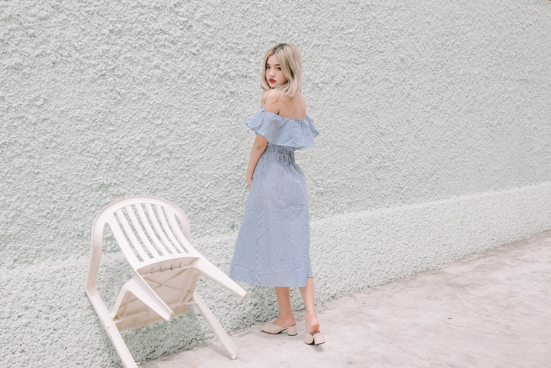 Pinstripe Off Shoulder Midi Dress
