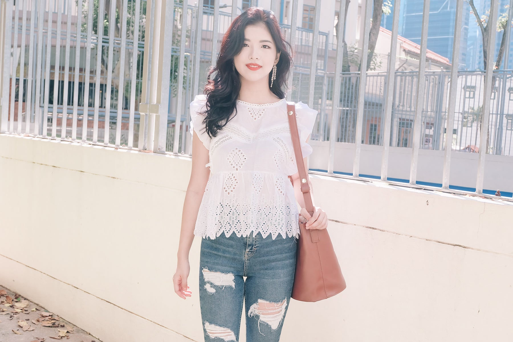 Eyelet Ruffled Sleeve Top