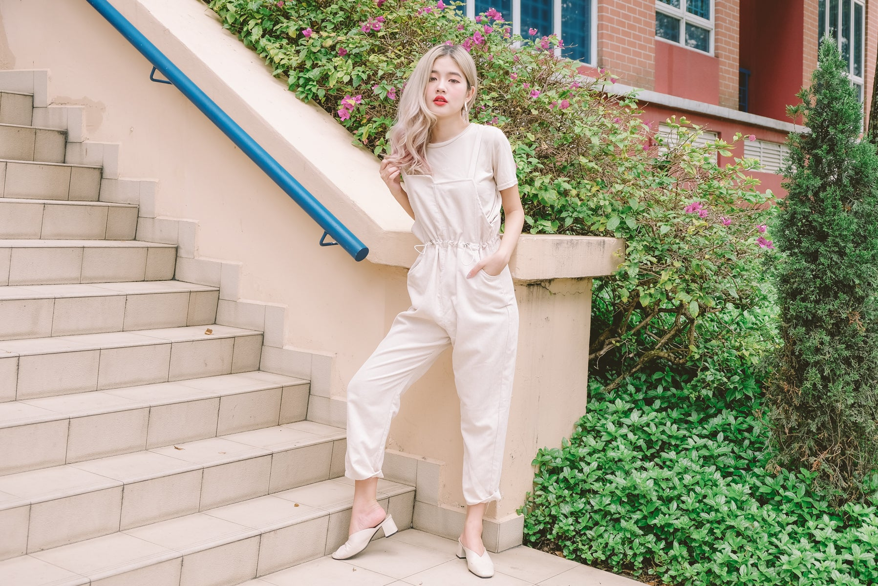 Vicna Drawstring Pinafore Jumpsuit in Ivory